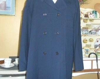 Vintage Coat Dark Blue 70's Coat Size 14 / 16 XL Double Breasted Coat Women's Coats Dress Coat Windermere