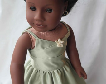Forest Princess: A Green Wrap-Top Party Dress for 18-Inch Dolls