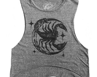 The Stinger - Scorpion and Crescent moon print - Muscle Tank