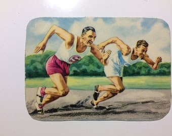 Magnet with upcycled scrap illustrations, Running, Track!