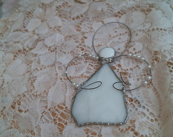 stained glass country white ANGEL suncatcher or ornament