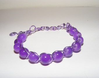 Purple Wire Wrap Fashion Jewelry Bracelet-Ships Free