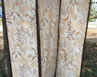 vintage folding screen room divider dressing screen with vera fabric ooak