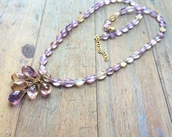 Ooak Ametrine Necklace - Natural Gemstone - Gold Jewelry - February Birthstone