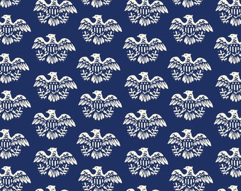 Americana Eagle by Mary Fons for Springs Creative - Full or Half Yard Patriotic Eagles on Navy - July 4th Small Wonders