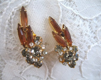 Vintage Rhinestone Earrings ~ Clip On ~ Juliana ~ Open Back