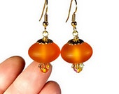 Tangerine Orange Drop Earrings, Orange Earrings, Acorn Earrings