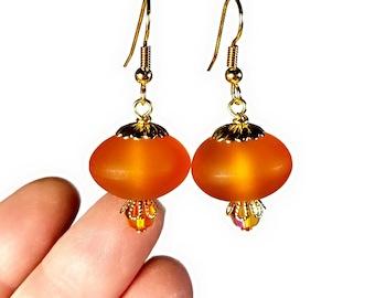 Tangerine Orange Drop Earrings, Orange Earrings, Acorn Earrings, Dangle