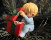 1986 Hallmark ornament OPEN ME FIRST child girl boy Blue PJs Red Box kitten cat