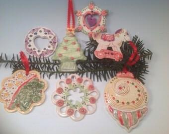 Christmas ornaments/christmas tree/ornaments/holiday decor/handmade christmas ornaments/pottery ornaments