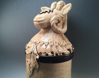 Large vase/goat/pottery vase/gaudy goat/goat vase/flower vase/