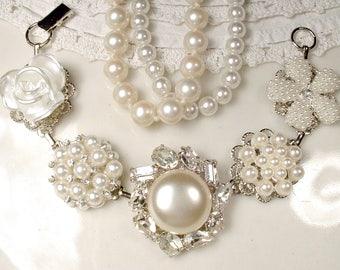 OOAK Pearl & Rhinestone Bridal Bracelet, Silver Ivory Vintage Wedding Earring Bracelet, Old Hollywood Art Deco Glam, Bridesmaid Jewlry Gift