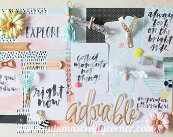 Adorable -  Inspirational - Cardmaking - Planner Kit - Journal Kit - Scrapbook Page Embellishment Kit - Journaling Cards
