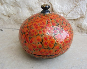 Vintage Round Red Flowered Jewelry Box Gift for Her
