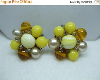 SALE 50% OFF Vintage Yellow Amber and pearl flower clip on earrings with seed beads  Signed Japan