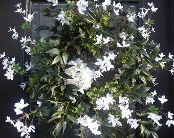 White Spring Wreath, Etsy Spring Wreaths, Forsythia Wreath, White Wreaths, Spring Summer Wreath, Woodsy Wreaths, Spring Door Wreath