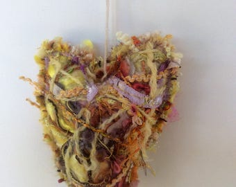TEXTILE FELTED HEART, yellow heart with multiple yarns fabric silk