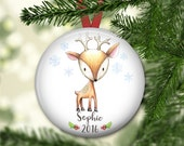 personalized Christmas ornaments for baby - baby's first christmas ornament - baby reindeer christmas decorations - ORN-PERS-2