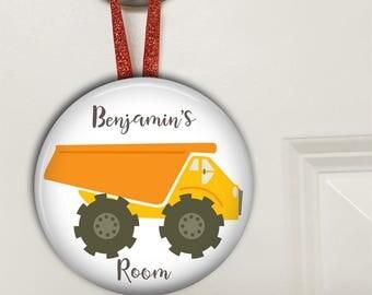 Dump truck door hanger - boys bedroom decor - dump truck birthday gift for son - personalized door sign - HAN-PERS-14