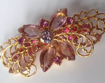 Collectible Juliana Butterfly Brooch – Filigree Wings – Lavendar Navettes - 1950s Jewelry