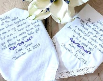 Embroidered Wedding Handkerchiefs wedding Gifs Wedding Day Gift Etsy Handkerchiefs Handmade by Canyon Embroidery