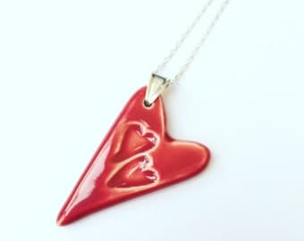 Valentine - Red Ceramic Heart Pendant Necklace - Sterling Silver