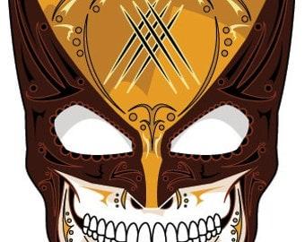 Wolverine Brown Mask Sugar Skull 3x4 Vinyl Sticker