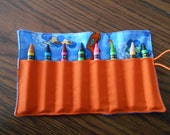 Blue race cars  crayon roll up 8 count