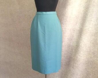 Vintage 70's Pendleton Wool Skirt, Light Blue Straight Skirt, Wool Flannel, Size Small, Waist 25, 50's Style