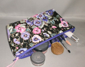 Cosmetic Bag - Makeup Bag - Large Zipper Pouch - Pansy - Pansies - Purple - Pink