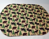 Moose Placemat, Moose, Trees, Bears, Handmade Placemat, Northwoods Decor, Made in Maine Usa