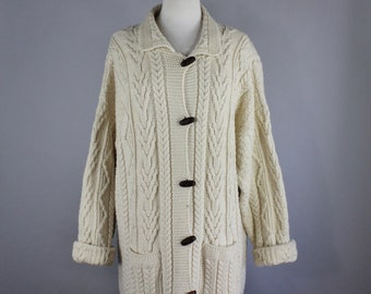 Women's Plus Size Long Fisherman's Cardigan Sweater, Aran Knit, Cream Sweater, Aran Crafts, Boho, St Patricks Day, Maxi Sweater, Size XL