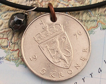 Norway, Vintage Coin Necklace --- Norwegian Coat of Arms -- Norge - Kingdom - Royalty - Europe - World Travel - Fighting Lion - Travel Gifts