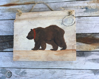 Hand Painted Reclaimed Wood Bear Ornament, Wreath, Tree Sign, Winter Home Decor, Camp Lodge Rustic Decoration, Ornaments And Accents