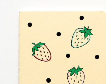 Notebook, Strawberries, Polka Dots, Pocket Journal, Illustration, Pastel, Yellow, Hand Drawn, OOAK, Gift for her, small gift