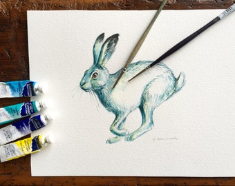 Snow Hare - winter rabbit - original watercolour