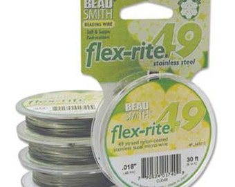 Beading Wire - Stringing Material -Beadsmith Flex-rite 49 Strand Wire - Clear Coated Stainless Steel Wire - Sku: 501039C