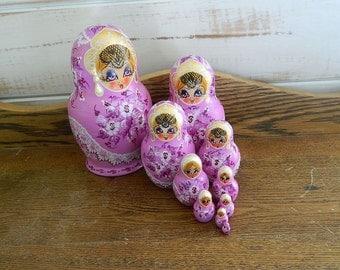 10 Piece Russian Nesting Dolls - Matryoshka Dolls - Artist Signed Cepzueb Nocad 1995 - Babushka Dolls