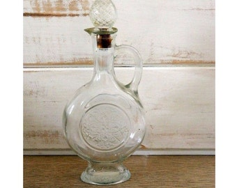 Avon Glass Bottle - Clear Glass Bottle With Handle and Stopper - Skin So Soft Bath Oil Bottle
