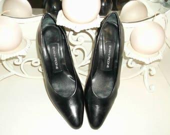 Black Leather Heels - Evan Picone - Made in Spain