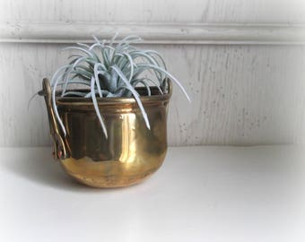 Brass Planter Boho Succulant Pot  Mid Century Planter Brass Cauldron With Handle Boho Chic Decor