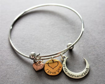 """Sentiment charm bangle, """"love you to the moon and back"""" charm bracelet, sentiment gift"""