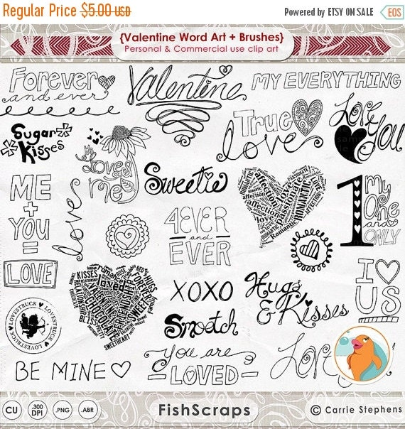 How To Make Quotes Pictures In Photoshop: SALE Valentine Word Art Valentine Doodles Love By FishScraps