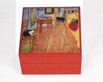 Wooden Keepsake Box, Cat Art, Cat Lover Gift, Memory Box, Cat Artwork, Vincent Van Gogh, Parody, Pet Memorial, Deborah Julian