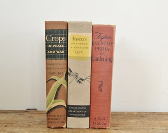 Vintage Gardening Agriculture Insects Book Bundle Lot Instant Mid Century Set of Three Books Home Decor Display Library