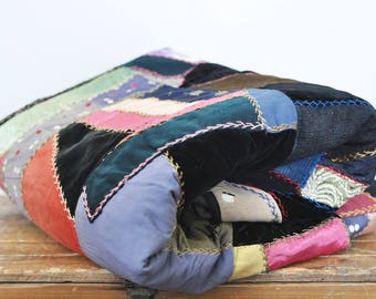 Antique Crazy Patchwork Quilt Mixed Textile Rustic 1900s Colorful Blanket 68 x 91