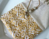 Moroccan bag, drawstring pouch, evening purse, bronze Moroccan embroidered fabric, linen