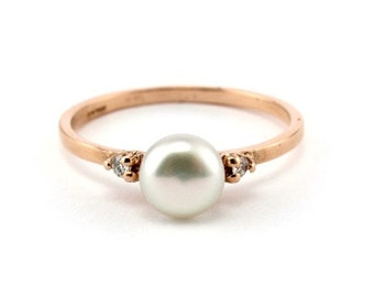 engagement ring pearl wedding ring rose gold engagement ring vintage style ring - Pics Of Wedding Rings