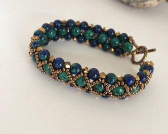 Chrysocolla and Azurite Crossover Bracelet