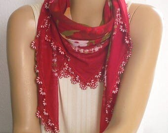 red scarf with beaded trim